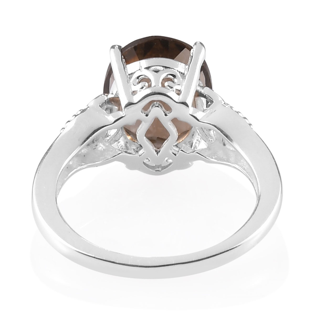 Solitaire Ring 925 Sterling Silver Round Smoky Quartz Gift Jewelry for Women Size 10 Ct 2.2