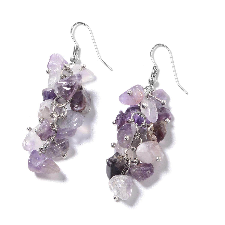 Multi Wear Amethyst, Seed Bead Silvertone Earrings, Triple Strand Bracelet  (8 in) and Necklace (20 00 In) Total Gem Stone Weight 466 50 Carat