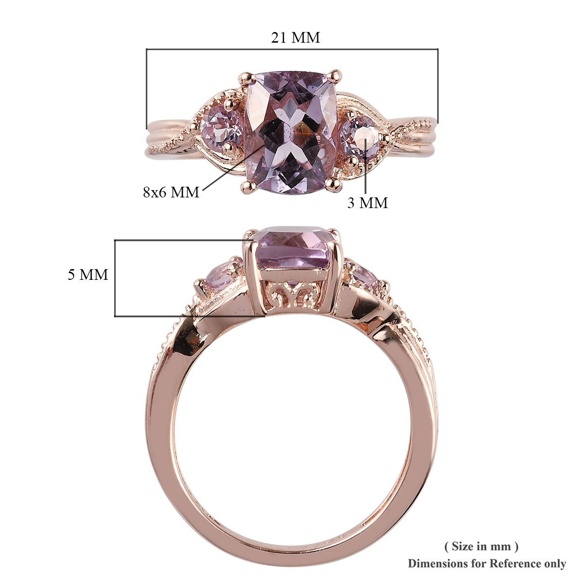 Size 7.5 De Buman 11.19g 925 Silver Luxury Ring with Smoky Synthetic Stone
