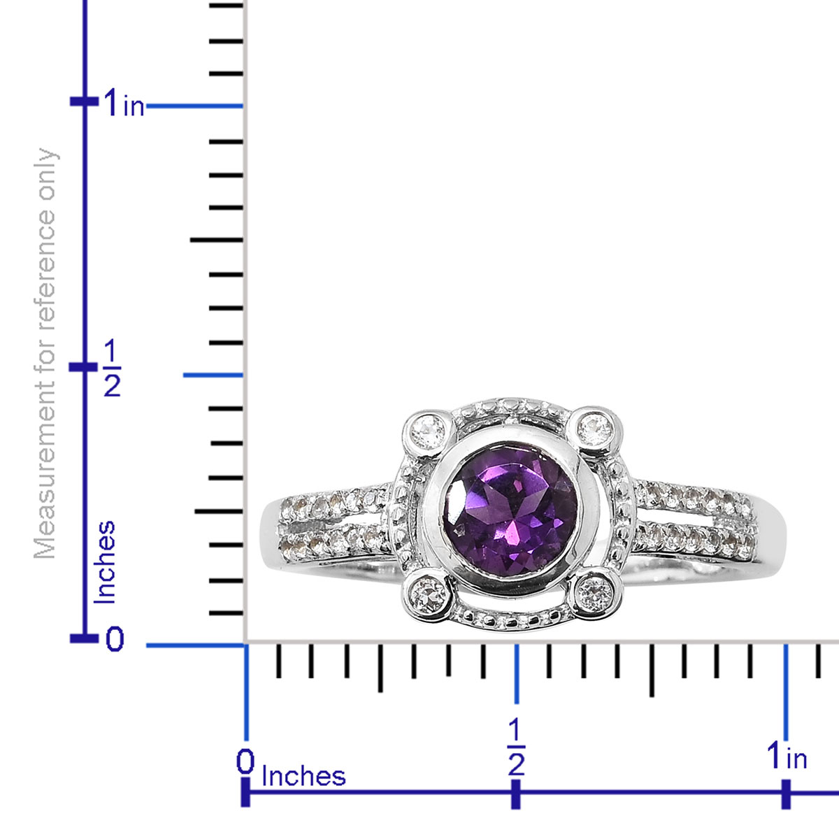Amethyst, White Topaz Platinum Over Sterling Silver Ring (Size 9.0) TGW 0.96 cts.