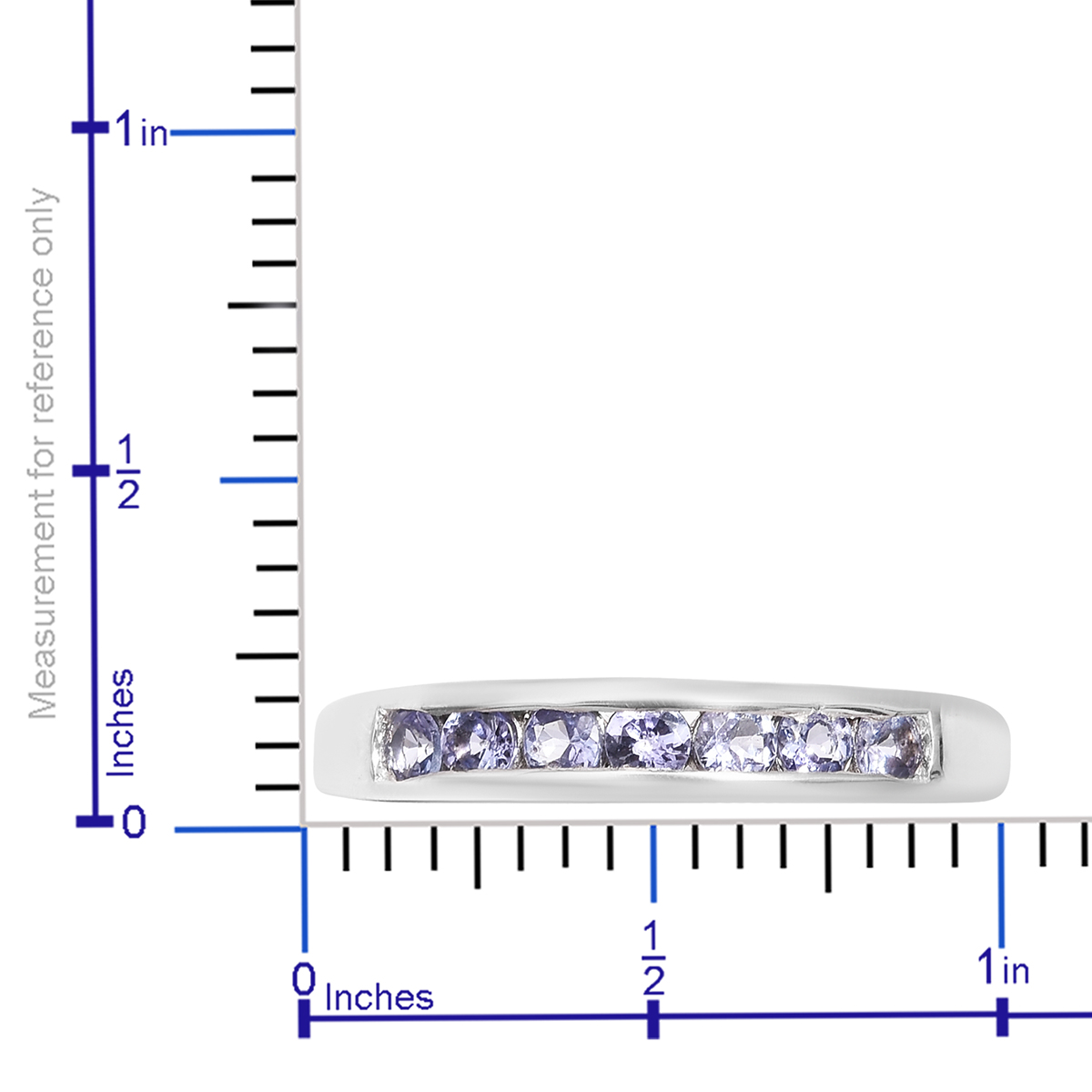 Tanzanite Platinum Over Sterling Silver Channel Ring (Size 7 0) TGW 0 57  cts
