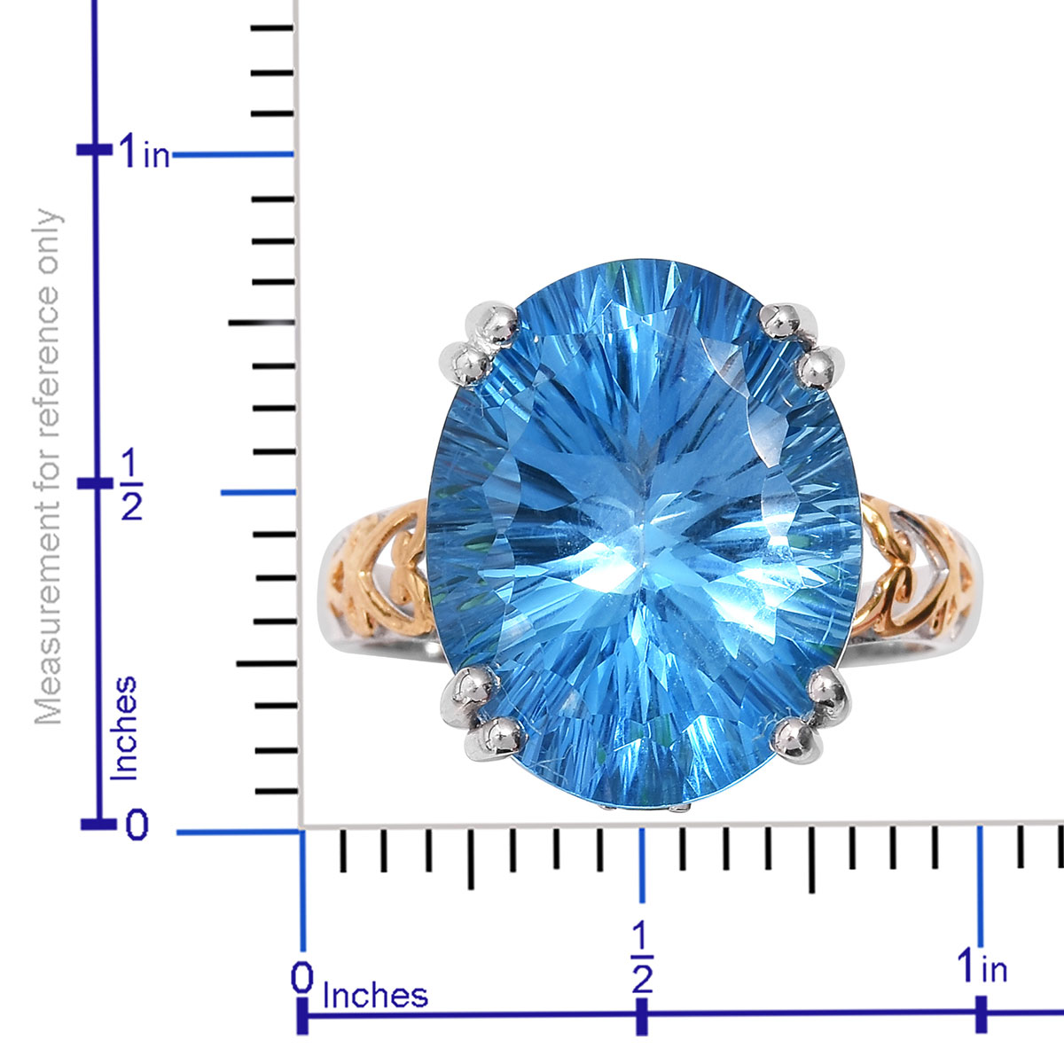 Premium Swiss Blue Topaz, Russian Diopside Ring in Vermeil YG & Platinum Over Sterling Silver (Size 10.0) 17.49 ctw