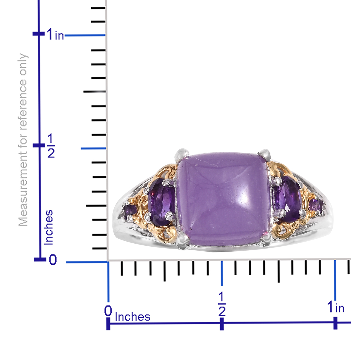 Burmese Purple Jade, Amethyst Ring in Vermeil YG and Platinum Over Sterling Silver (Size 10.0) 6.21 ctw