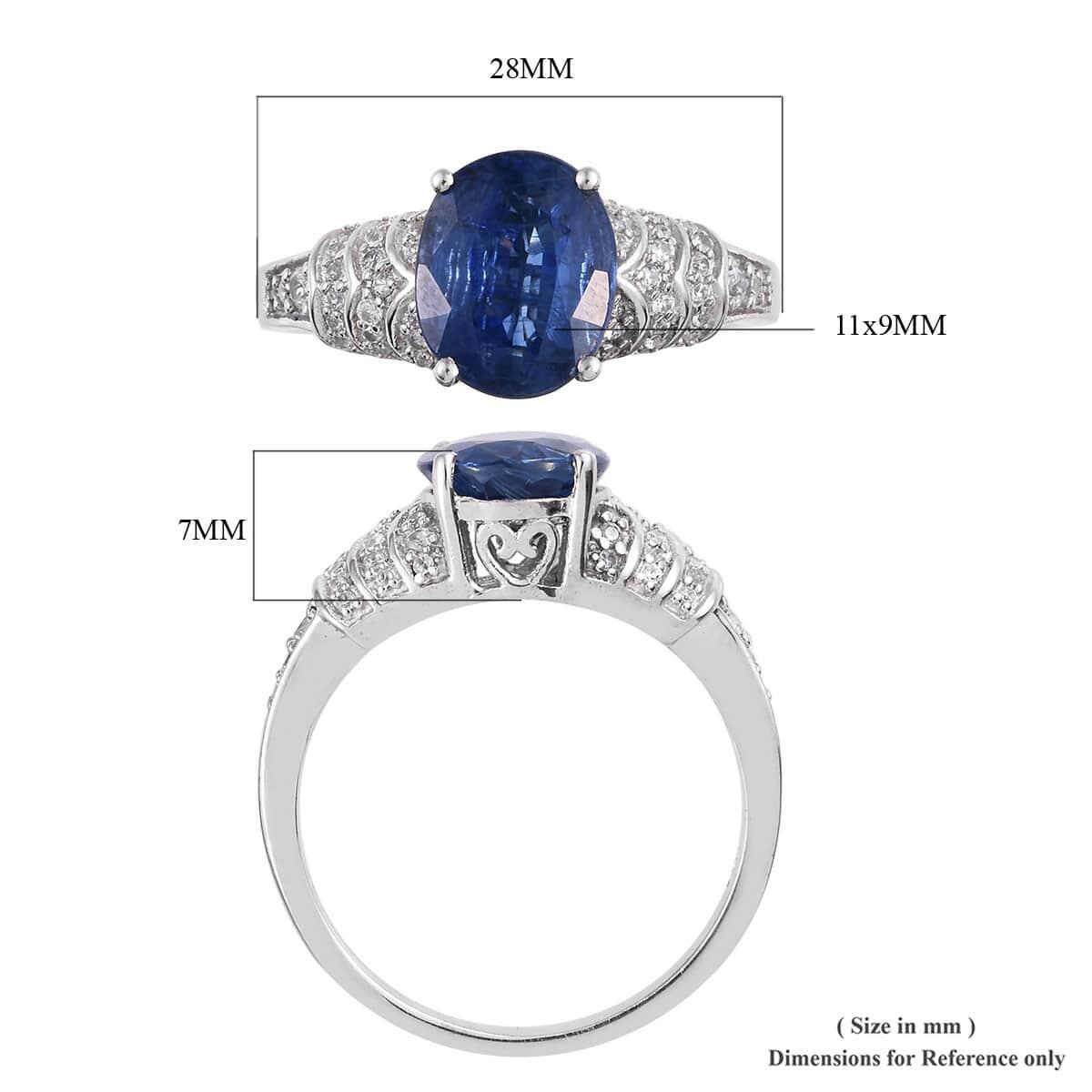 Kashmir Kyanite, Cambodian Zircon Ring in Platinum Over Sterling Silver (Size 8.0) 4.80 ctw