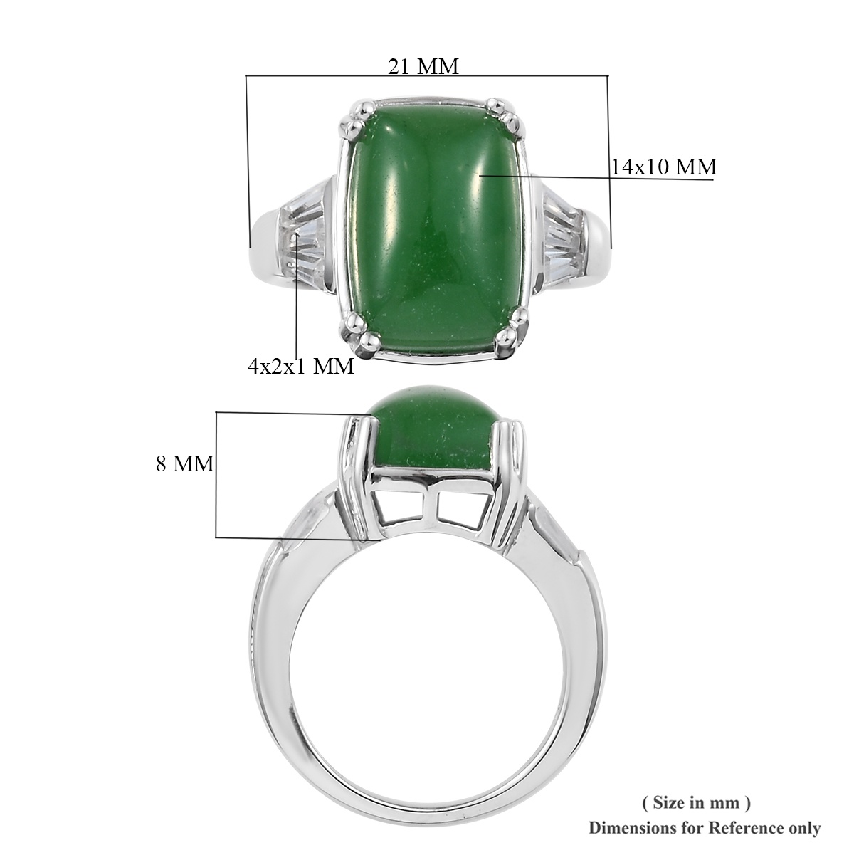 Burmese Green Jade, White Topaz Ring in Platinum Over Sterling Silver (Size 11.0) 8.95 ctw