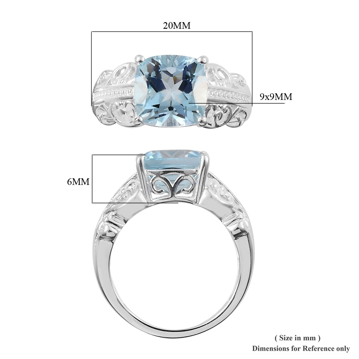 Sky Blue Topaz Ring in Sterling Silver (Size 5.0) 2.75 ctw
