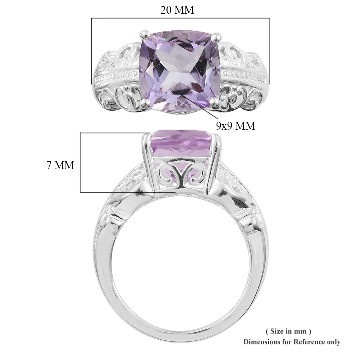 Rose De France Amethyst Ring in Sterling Silver (Size 6.0) 3.00 ctw
