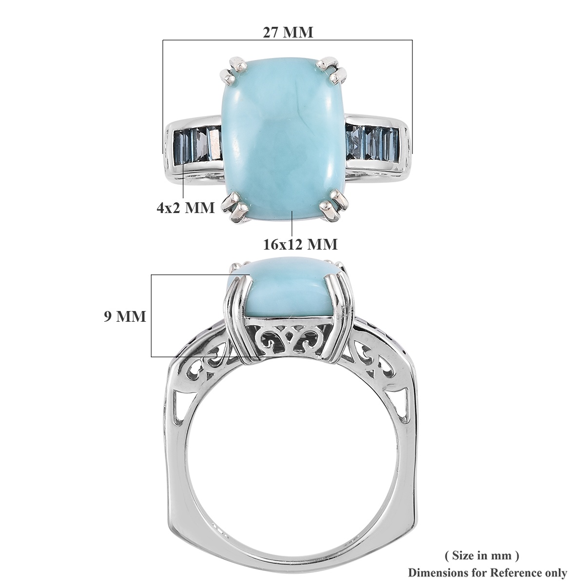 Larimar, London Blue Topaz Euro Style Ring in Platinum Over Sterling Silver (Size 6.0) 10.55 ctw