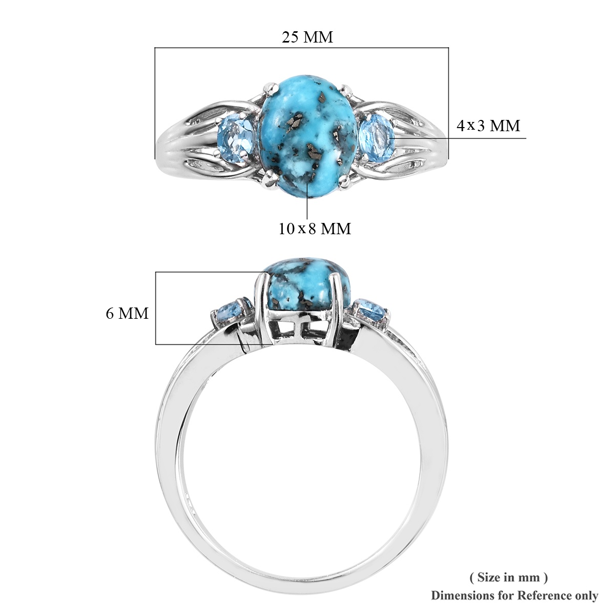 Persian Turquoise, Blue Topaz Ring in Platinum Over Sterling Silver (Size 10.0) 3.15 ctw
