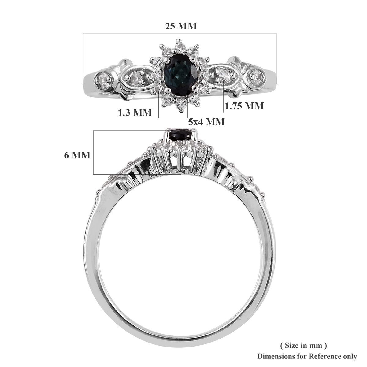 Monte Belo Indicolite, Cambodian Zircon Ring in Platinum Over Sterling Silver (Size 5.0) 0.65 ctw