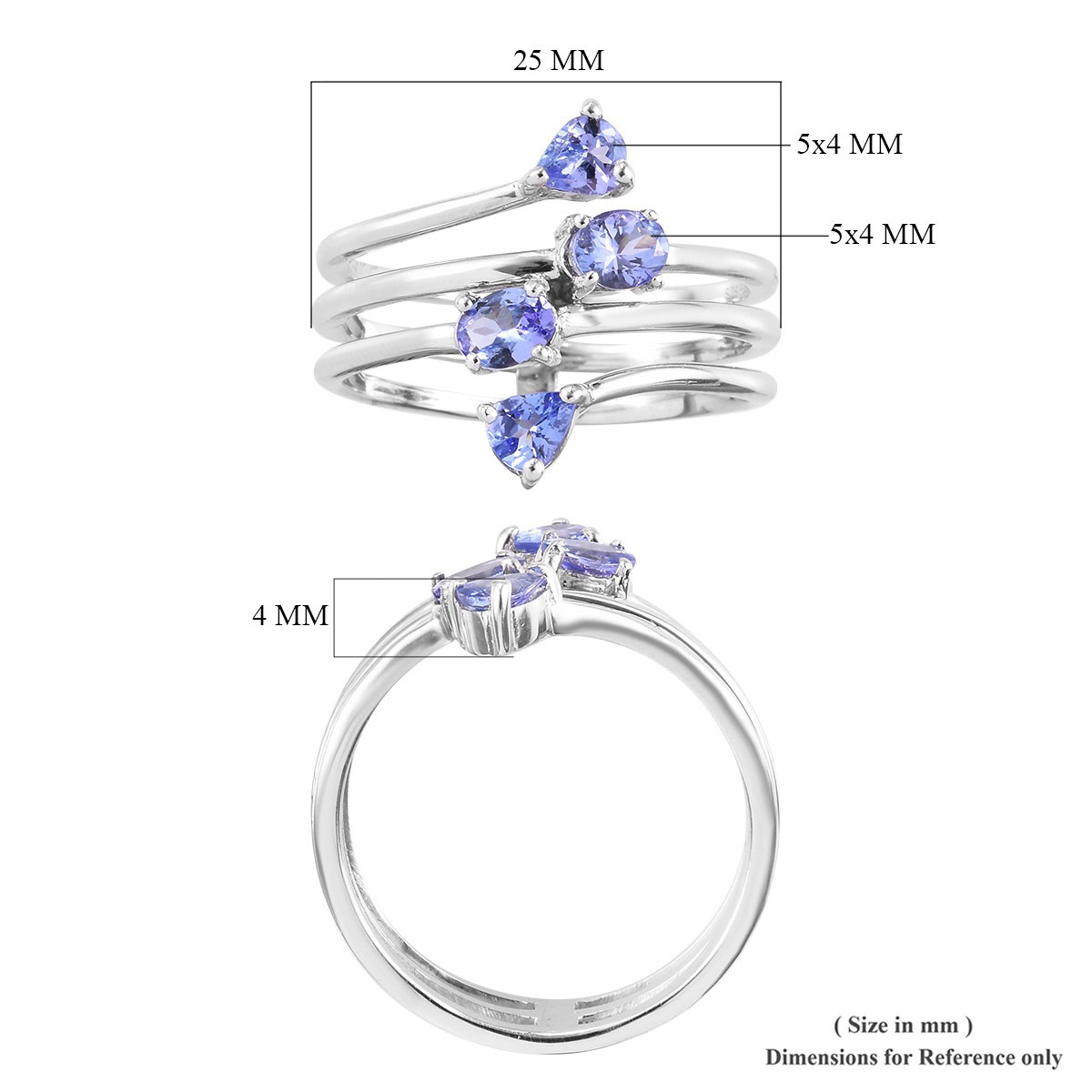 Tanzanite Ring in Platinum Over Sterling Silver (Size 5.0) 1.20 ctw