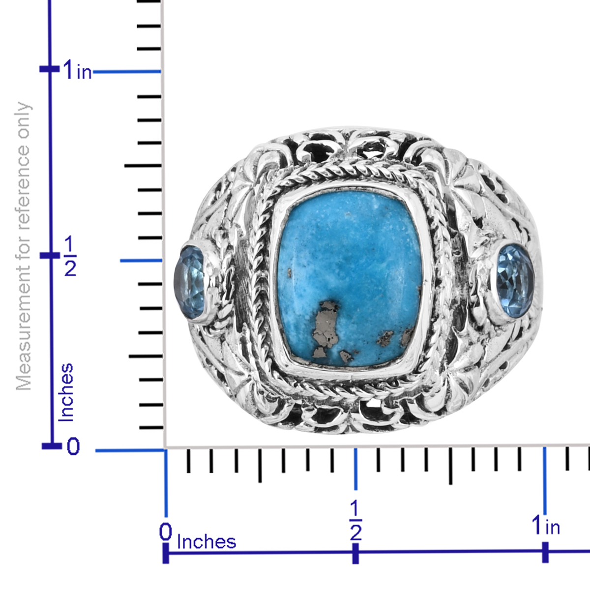 Bali Legacy Persian Turquoise, Electric Blue Topaz Ring in Sterling Silver (Size 11.0) (Avg. 9.58 g) 6.54 ctw