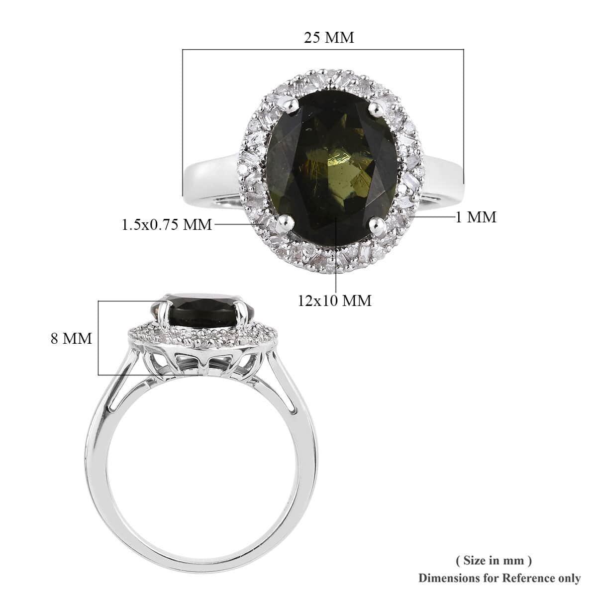 Bohemian Moldavite, Diamond (0 25 ct) Ring in Platinum Over Sterling Silver  (Size 5 0) 3 95 ctw
