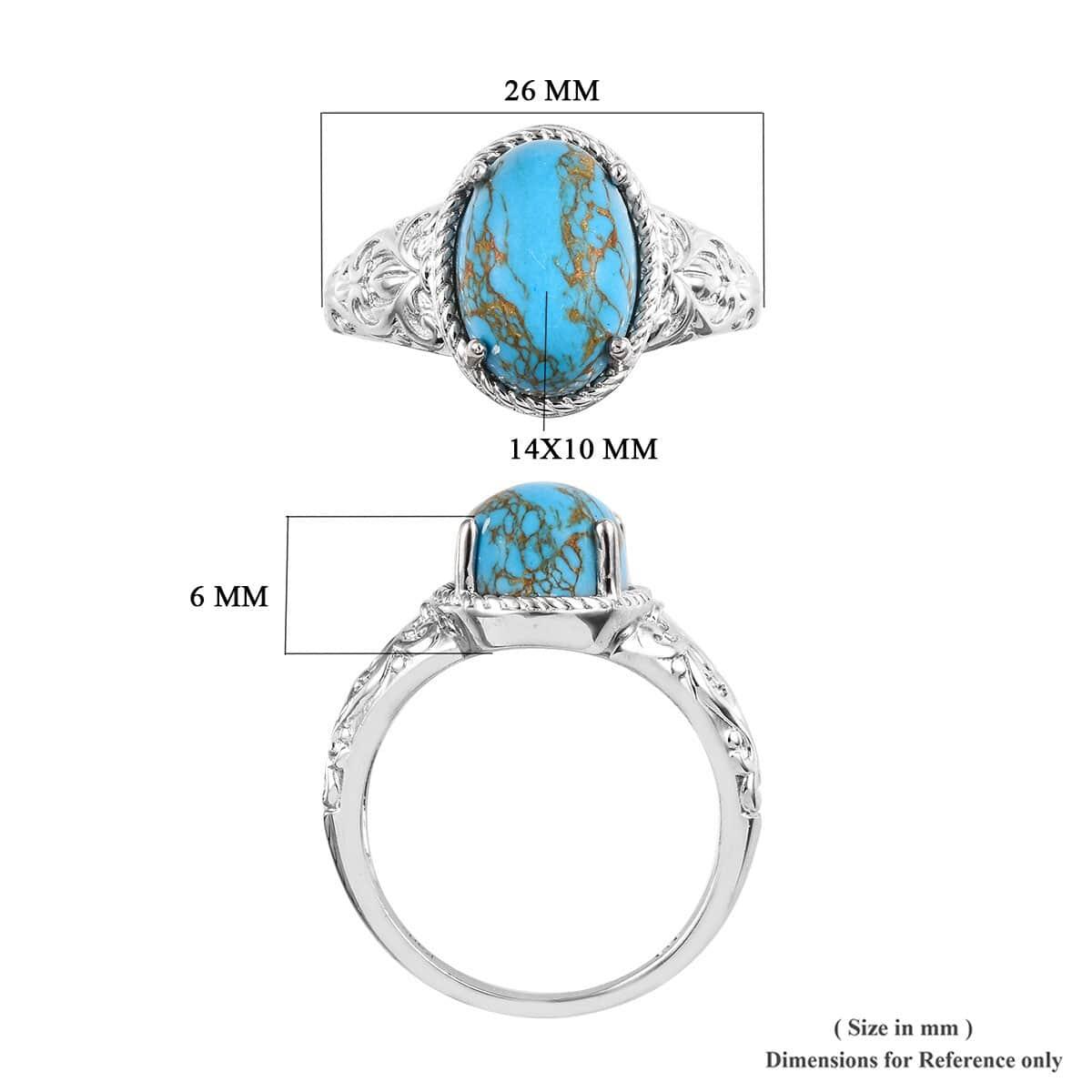 KARIS Mojave Blue Turquoise Ring in Platinum Bond Brass (Size 11.0) 6.55 ctw