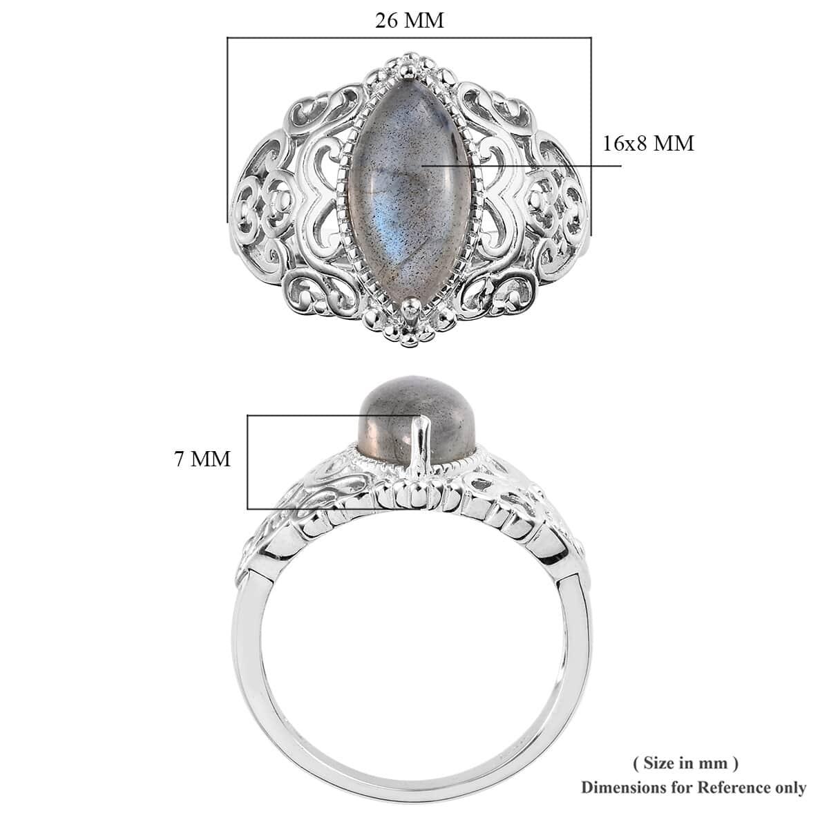 KARIS Malagasy Labradorite Ring in Platinum Bond Brass (Size 11.0) 5.50 ctw