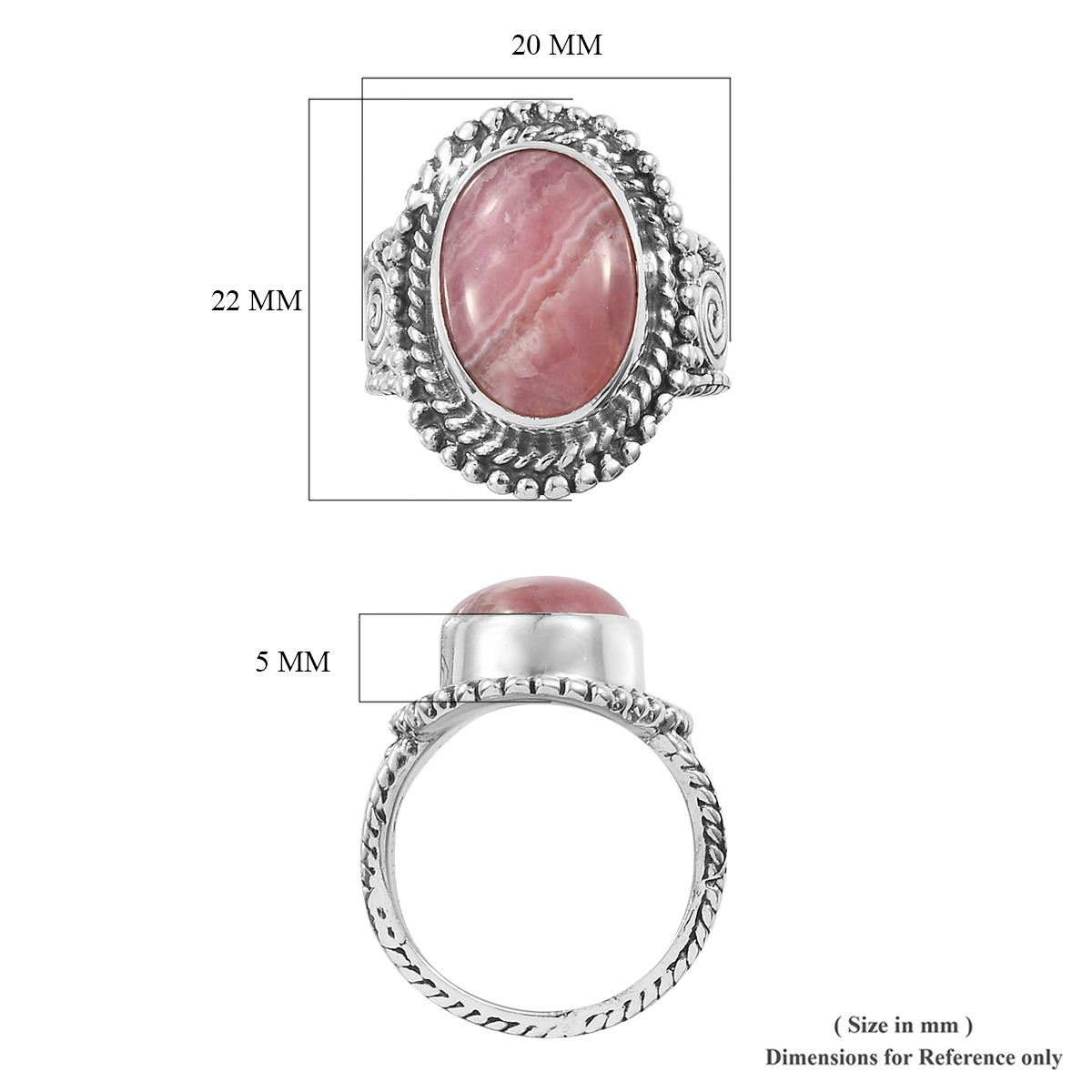 Artisan Crafted Argentinian Rhodochrosite Ring in Sterling Silver (Size 11.0) (Avg. 7.08 g) 7.50 ctw