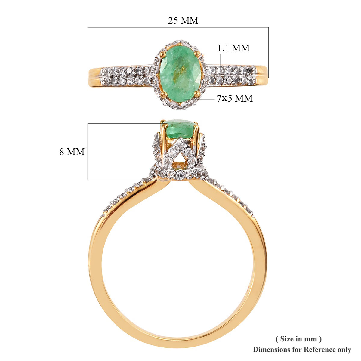 Ethiopian Emerald, Zircon Crown Ring in Vermeil YG Over Sterling Silver (Size 9.0) 1.48 ctw