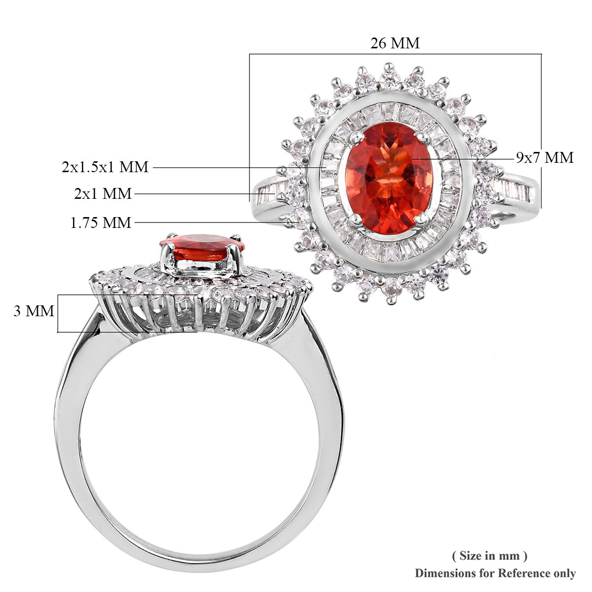 Red Andesine, Zircon Ring in Platinum Over Sterling Silver (Size 7.0) 3.27 ctw