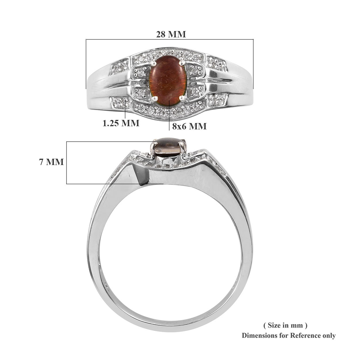 Canadian Ammolite, Zircon Men's Ring in Platinum Over Sterling Silver (Size 14.0) 0.30 ctw