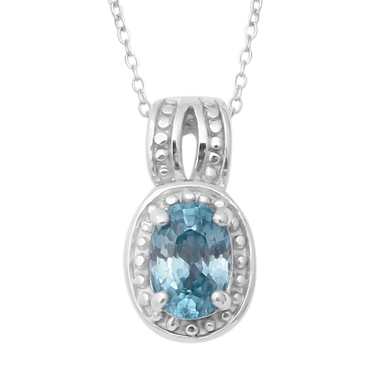 Cambodian Blue Zircon Ring (Size 10) and Pendant Necklace (18 in) in Platinum Over Sterling Silver 2.82 ctw