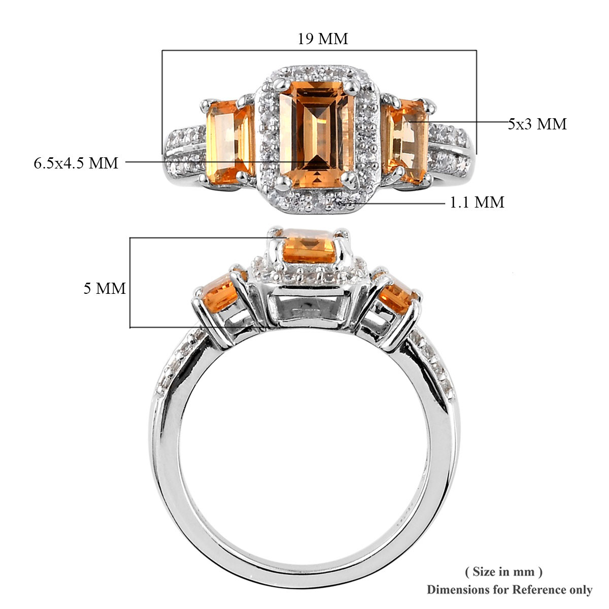 Golden Imperial Topaz, Zircon Ring in Platinum Over Sterling Silver (Size 6.0) 1.85 ctw