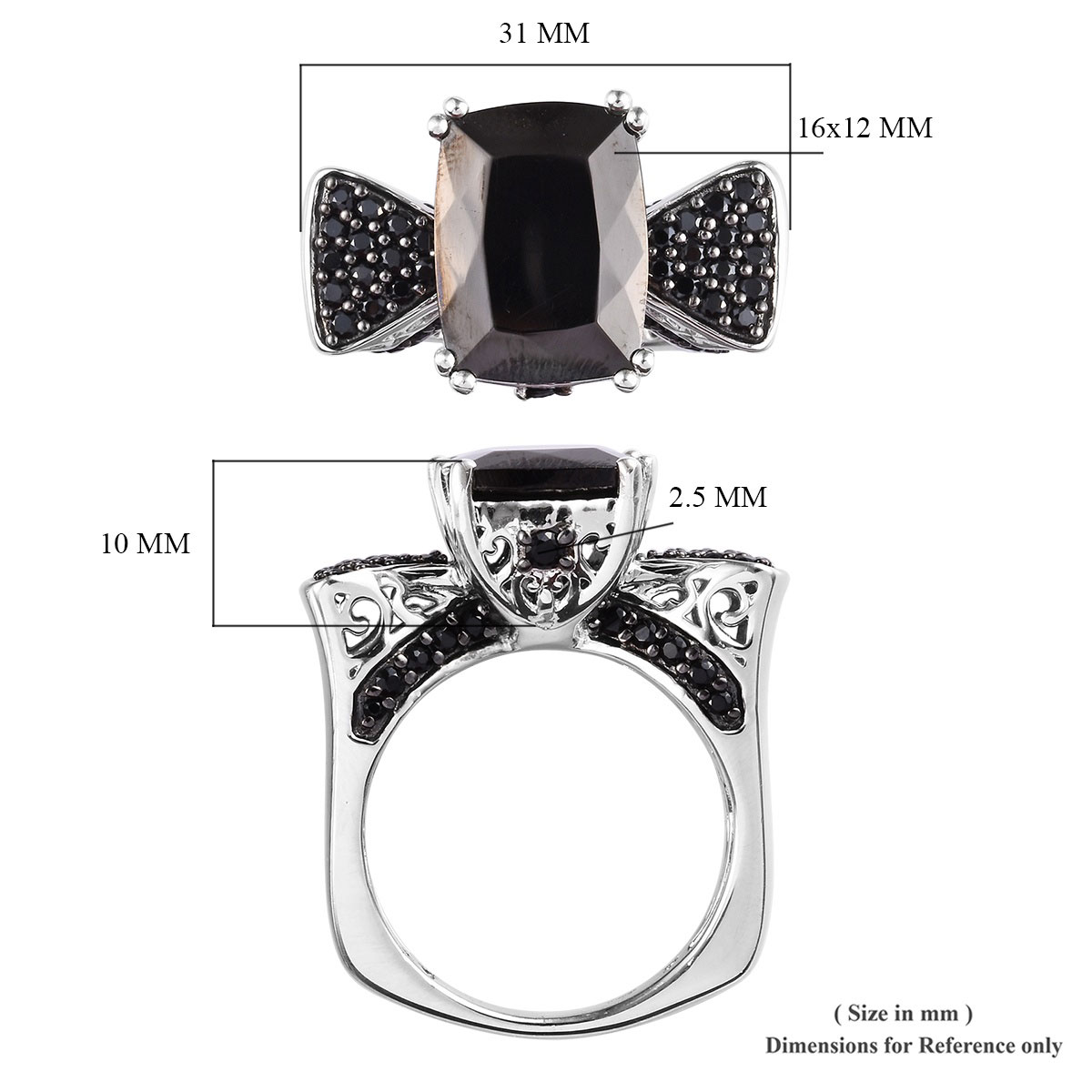 Shungite, Thai Black Spinel Ring in Rhodium & Platinum Over Sterling Silver (Size 11.0) (Avg. 9.3 g) 8.11 ctw