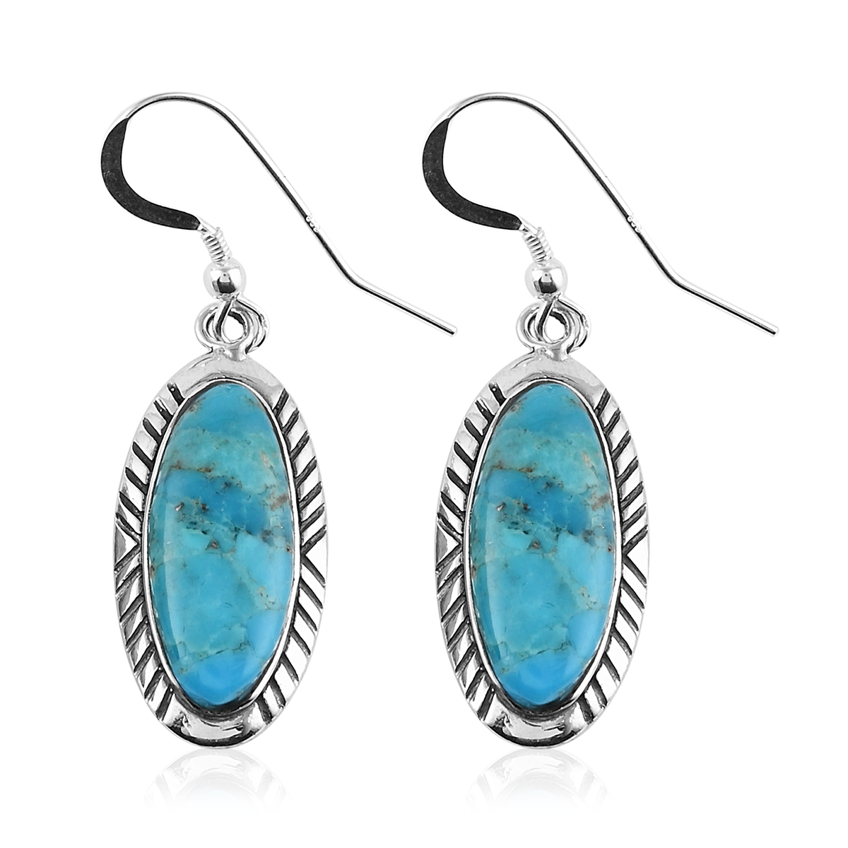 Santa Fe Style 925 Silver Turquoise Earrings Pendant ...