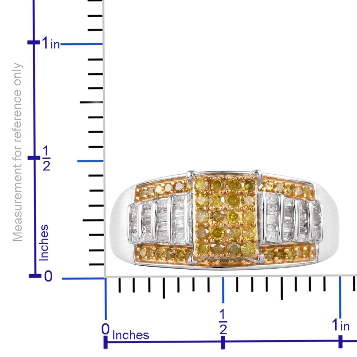 Yellow Diamond (IR), Diamond (0.30 ct) Ring in Yellow Rhodium & Platinum Over Sterling Silver (Size 8.0) 0.75 ctw