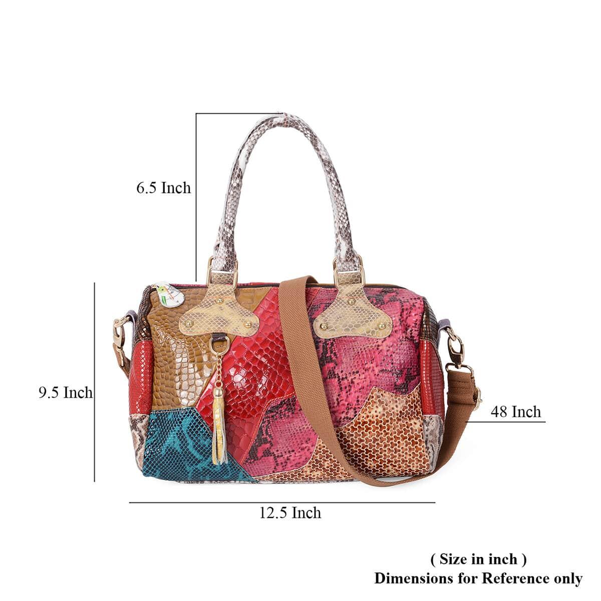 Multi Color Block Pattern Genuine Leather Tote Bag with Shoulder Strap