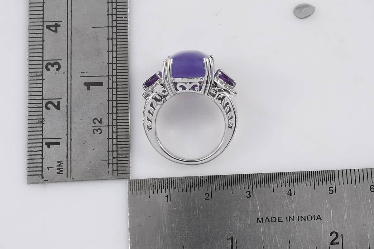 Burmese Purple Jade, Multi Gemstone Ring in Platinum Over Sterling Silver (Size 7.0) 13.98 ctw