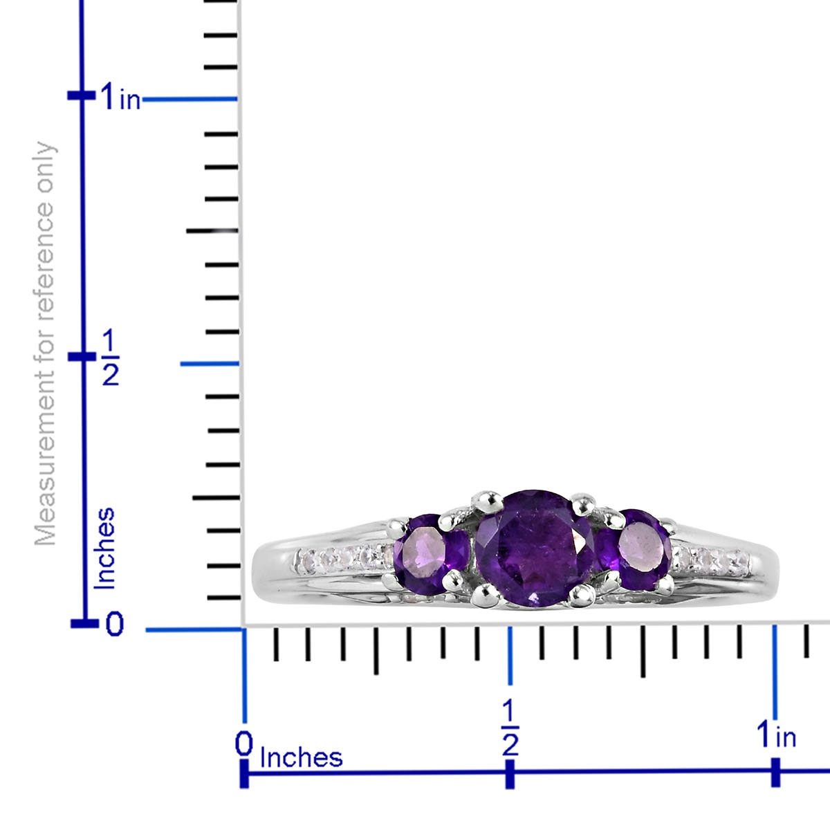 Lusaka Amethyst, Zircon Ring in Platinum Over Sterling Silver (Size 6.0) 1.10 ctw
