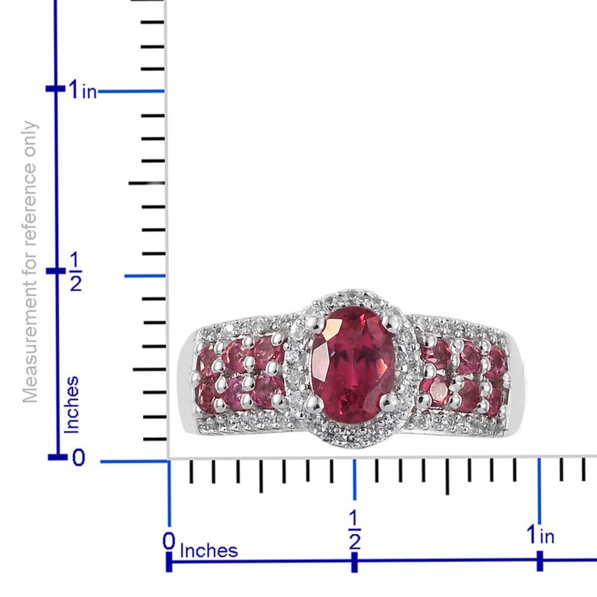 Nigerian Rubellite, Multi Gemstone Ring in Platinum Over Sterling Silver (Size 10.0) 1.76 ctw