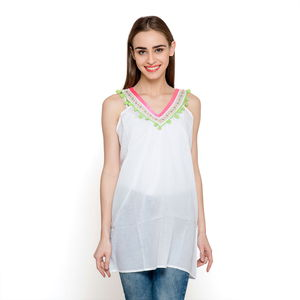 White 100% Cotton Tunic with Lace & Pom Pom (30x24.5 in)