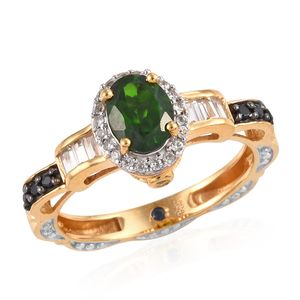 GP Russian Diopside, Multi Gemstone Ring in 14K YG Over Sterling Silver (Size 6.0) 2.08 ctw