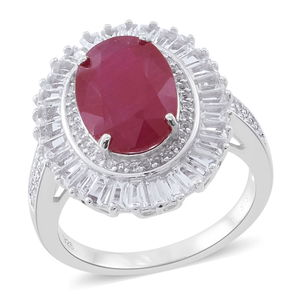 Niassa Ruby, White Topaz Cocktail Ring in Sterling Silver (Size 8.0) 18.96 ctw
