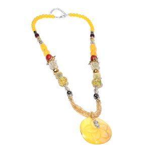 Yellow Shell, Multi Gemstone Silvertone Owl Charm Necklace (30-32 in) TGW 24.00 cts.