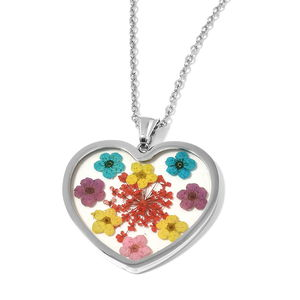 6c4f4ea2bc Valentine Special Stainless Steel Pressed Flowers Heart Pendant Necklace  (20 in)