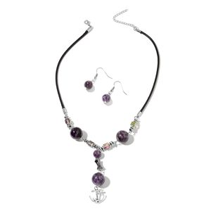 43a26bc0d Amethyst, Hematite, Simulated Silver Mystic Topaz Stainless Steel Earrings  and Anchor Necklace (18