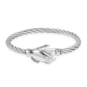 Stainless Steel Handshake Bangle (8 in)