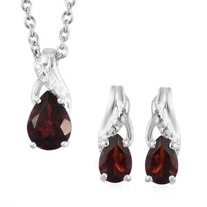 978c79dc23 Mozambique Garnet Sterling Silver Earrings and Pendant With Stainless Steel  Chain (20 in) TGW