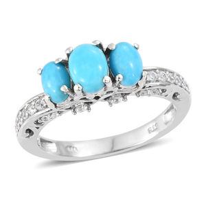 a3dfe3d8f37ac8 Arizona Sleeping Beauty Turquoise, Cambodian Zircon Mounted Swan Love Ring  in Platinum Over Sterling Silver