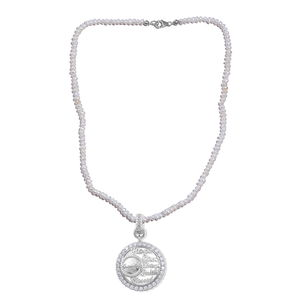 5b9ffa2b7 KARIS Collection - White CZ Platinum Bond Brass Inspirational Pendant with  Freshwater Pearl Beads Necklace (
