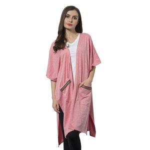 Pink 100% Polyester Kimono with Multi Color Stripe Pockets (One Size)