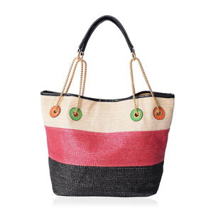 35a67385a2ebf Natural, Red & Black Straw and Polyester Tote Bag (12.5x6x10 ...