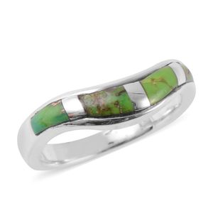 Santa Fe Style Mojave Green Turquoise Wave Band Ring in Sterling Silver (Size 7.0) 1.75 ctw