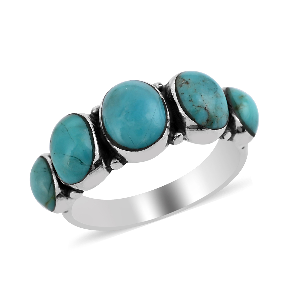 Santa Fe Style Kingman Turquoise Band Ring in Sterling Silver (Size 11.0) 1.25 ctw