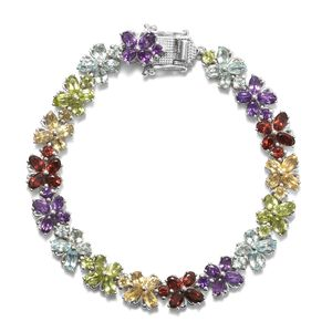 79af1edd4c8 Multi Gemstone Platinum Over Sterling Silver Butterfly Bracelet (7.25 In)  TGW 18.19 cts.