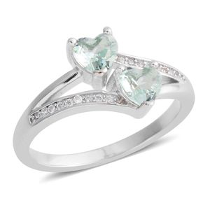 Green and White CZ Heart Split Bypass Ring in Silvertone (Size 8.5) 1.09 ctw