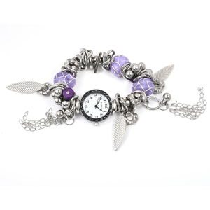 STRADA Japanese Movement Resin, Purple Natural Stone Chips Black Oxidized Water Resistant Multi-charm Bracelet Watch in Silvertone and Stainless Steel Back (6-7 in) TGW 202.00 cts.
