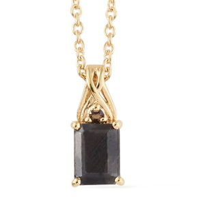 64d1dc031 Natural Silver Sapphire, Brazilian Smoky Quartz 14K YG Over Sterling Silver  Pendant With ION Plated